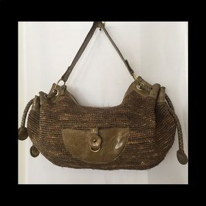 Flora Bella Large Woven Travel Bag Leather Accents